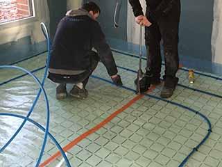 installation du chauffage au sol